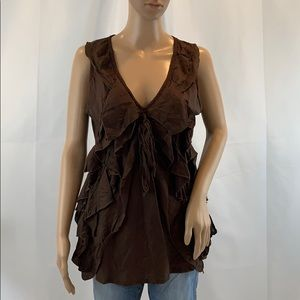 Tops - EUC, Brown Silk Top, Unknown Size